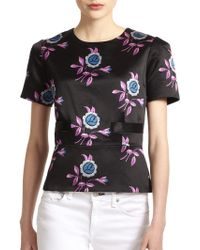 Jill Stuart | Irina Floralprint Cottonsilk Flared Blouse | Lyst