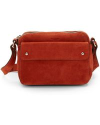 Olivia Harris Compact Suede Crossbody Bag - Lyst