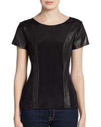 Sachin & Babi Raina Paneled Leather Top - Lyst