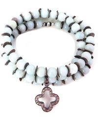 Velvet By Graham & Spencer - Pave Diamond Clover Wrap Bracelet - Lyst