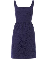 Issa Blue Broderie-Anglaise Dress - Lyst