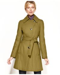 Kenneth Cole Reaction Kenneth Cole Coat Wool Blend Belted Asymmetrical Trench - Lyst