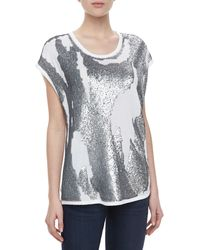 Robert Rodriguez Distressed Sequined Jersey Tee - Lyst