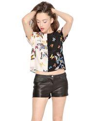 American Retro - Denim Pockets Detailed Leather Shorts - Lyst