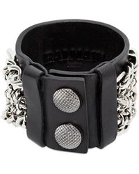 Balmain - Metal Chains Leather Bracelet - Lyst