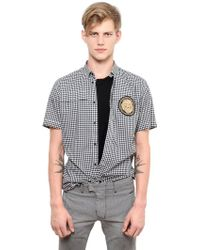 Balmain Short Sleeved Cotton Poplin Shirt - Lyst