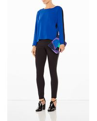 DKNY Long Sleeve Jersey Top with Sheer Overlay - Lyst