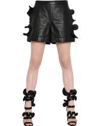 Emanuel Ungaro - Ruffled Leather Shorts - Lyst