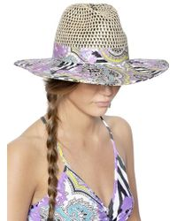 Etro Printed Cotton Drill & Straw Hat - Lyst