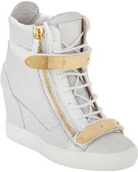 Giuseppe Zanotti Croc-Stamped Wedge Zip Sneaker - Lyst