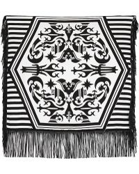 KTZ   Tattoo Printed Leather Fringed Scarf   Lyst