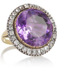 Olivia Collings - 18karat Gold Amethyst and Diamond Ring - Lyst