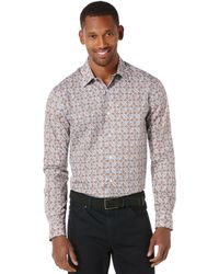Perry Ellis Long Sleeve Medalian Shirt - Lyst
