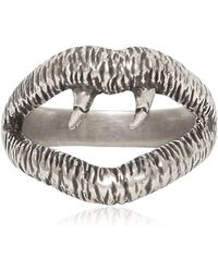 Saint Laurent - Silver Vampire Ring - Lyst