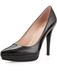 Stuart Weitzman Point Leather Platform Pump - Lyst