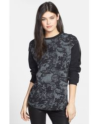 Trouvé  Textured Front Faux Leather Trim Sweatshirt - Lyst
