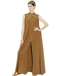 Valentino Sleeveless Silk Jumpsuit - Lyst