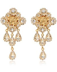 Versace Crystal Gold Plated Earrings - Lyst