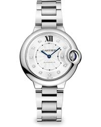 Cartier Ballon Bleu De Diamond Stainless Steel Bracelet Watch - Lyst