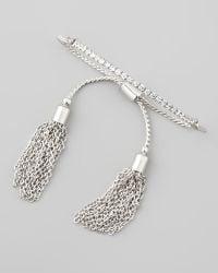 Chamak by Priya Kakkar - Sliding Tassel Bar Bracelet Silver - Lyst