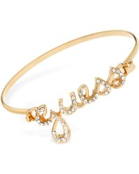 Guess Goldtone with Crystals Logo Bracelet - Lyst