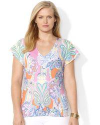 Lauren by Ralph Lauren Plus Size Flutter Sleeve Paisley Print V-Neck Top - Lyst
