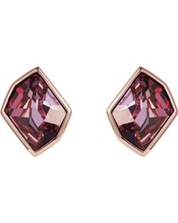 Aurora - 18ct Rose Gold Plated Cosmic Cut Clip Earrings - Lyst