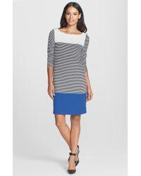 Isaac Mizrahi New York Colorblock Stripe Stretch Jersey Shift Dress - Lyst