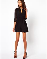 Asos Playsuit with Chiffon Sleeves - Lyst