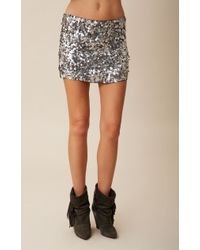 Blu Moon Gunmetal Sequin Skirt - Lyst