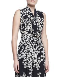 Carolina Herrera Daisyprint Sleeveless Ascot Blouse - Lyst