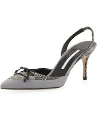 Manolo Blahnik Perax Snakeskin Bow Halter Pump Light Gray - Lyst