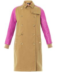 Sophie Hulme - Leather Sleeve Cotton Trench Coat - Lyst
