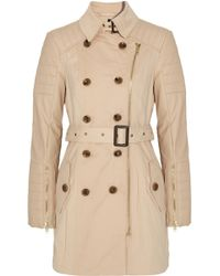 W118 by Walter Baker Keanu Faux Leather Sleeved Cotton Twill Trench - Lyst
