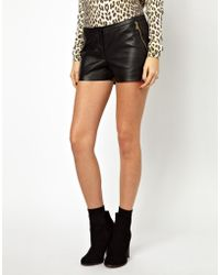 Y.a.s Soma Leather Shorts with Zip Pockets - Lyst