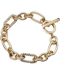 Anne Klein - 12kt Gold Plated Chain Link Bracelet with Crystal Embellishments - Lyst