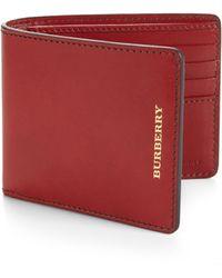 Burberry Leather Billfold Wallet - Lyst