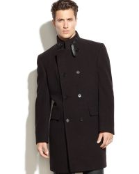 Calvin Klein Merlow Doublebreasted Check Woolblend Overcoat - Lyst