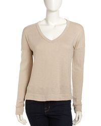 James Perse Wide Vneck Pullover - Lyst