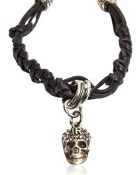 John Richmond | Metallic Skull Woven Leather Bracelet | Lyst