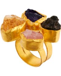 Kasturjewels Adjustable Brass Plated 22kt Gold Statement Ring with Semiprecious Stones - Multicolour