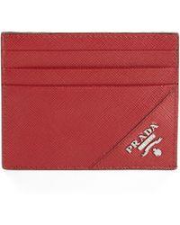Prada Saffiano Leather Credit Card Case - Lyst