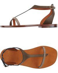 Celine Khaki Flip Flops - Lyst
