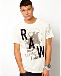 G-star Raw G Star Tshirt Carter Raw Rhino Print - Lyst