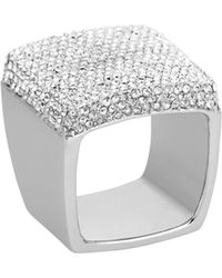 Michael Kors - Pave Signet Ring Silver Color - Lyst