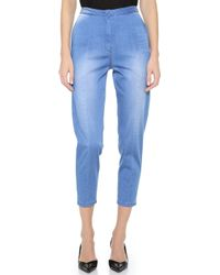 O'2nd Blue Cropped Jeans - Lyst