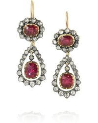 Olivia Collings - 18karat Gold Ruby and Diamond Earrings - Lyst