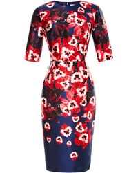 Prabal Gurung Fitted Floralprint Satin Dress - Lyst