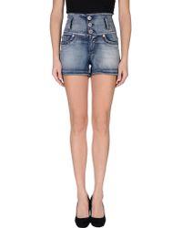 S.o.s By Orza Studio - High-Waisted Mini Denim Shorts - Lyst