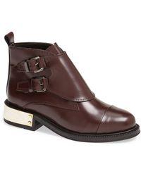 Topshop Pertora Leather Monk Strap Boot - Lyst